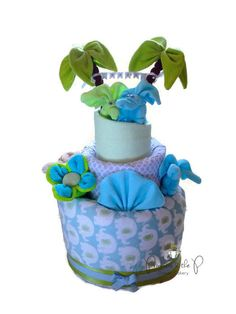 Etsy, elephant-fun-safari-topsy-turvy-diaper-cake