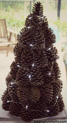 pine cone tree with lights