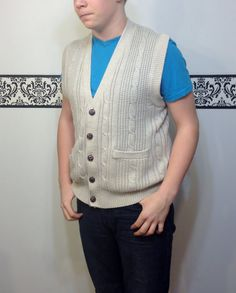 80's does 50's Sleeveless Men's Hipster Sweater by RetrosaurusRex