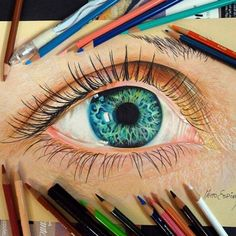 51 Ideas Eye Painting Pencil For 2019 3d Drawings, Colorful Drawings, Pencil Drawings, Pencil Sketching, Drawing Faces, Realistic Eye Drawing, Color Pencil Art, Eye Art, Painting & Drawing