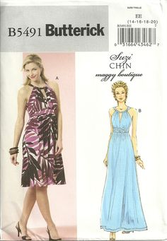 Butterick 5491 Elegant Grecian Style Short & Long Dress Sewing Pattern Sz 14-16-18-20 Easy