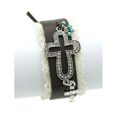 AGED FINISH METAL CROSS FAUX LEATHER BAND BRACELET