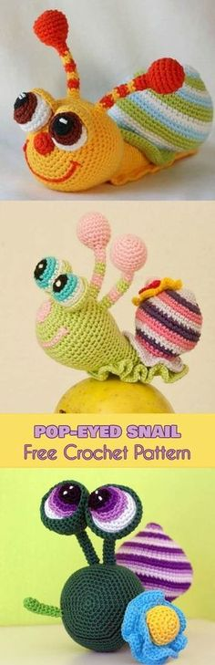 Absolutely adorable... have to crochet one even if I do not know what I will do with it... - Amirugumi Pop-Eyed Snail [Free Crochet Pattern]