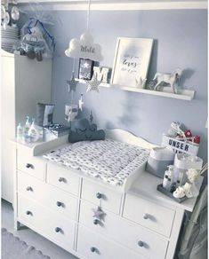 "Changing mat ""Cloud for IKEA Hemnes / Songesund chest of drawers - room ideas for . - Changing mat ""Cloud for IKEA Hemnes / Songesund chest of drawers – room ideas for children Clo - Baby Room Themes, Baby Boy Room Decor, Baby Room Design, Baby Boy Rooms, Baby Bedroom, Baby Boy Nurseries, Girl Room, Baby Room Furniture, Baby Nursery Ideas For Boy"