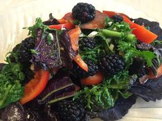 Day 10: January 10, 2016: Arizona Farmers Market Organic Mustard Greens Salad with Blackberries. The key to an awesome simple salad is a simple home-made salad dressing, made with high quality organic extra virgin olive oil.