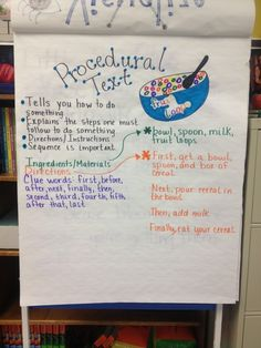 How to Procedural Text anchor chart/Love this idea for a lesson on sequencing as well as transition words! :) Would demonstrate think before finalizing writing. Procedural Writing, Teaching Writing, Teaching Style, Informational Writing, Teaching French, Student Teaching, Teaching English, Nonfiction, Kindergarten Anchor Charts