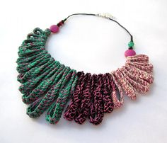 RESERVED for ANNAMARIA - Cotton yarn crochet necklace turquoise/green/mint fuchsia black cream beads glass bead stones fringe 80's