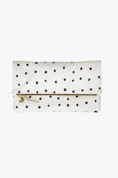Fold Over Clutch - Black Spots/Cream