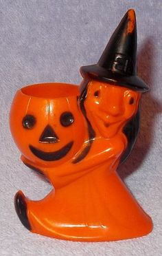 Vintage Halloween Witch with Pumpkin Hard Plastic Rosbro Candy Container, Is 4 inches tall, Ca 1950's