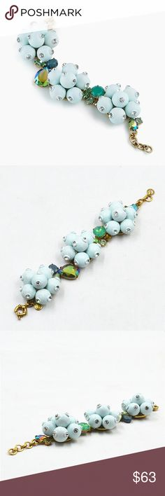 "J.Crew Pop Crystal Frosted Mint Blue Bracelet ""This bracelet is popping up in a big way. One look (or should we say touch?) at the sparkly spheres and iridescent crystals proves why.""  - Brass, glass, epoxy stone. - Light gold ox plating. - Length: 6 1/4"" with a 1"" extender chain for adjustable length.  Retail $110  NEW without tags.  The last two photos were from the bracelet I'm selling. J. Crew Jewelry Bracelets"