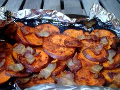 """""""Cinnamon Bacon Backyard Sweet Potatoes"""" -- cooked in a foil packet on the grill. These look soooo good!!! I can't wait to try them!"""
