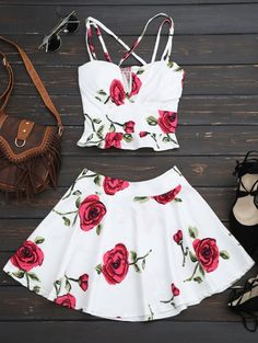 SHARE & Get it FREE | Floral Bralet Crop Top And Mini Skirt - WhiteFor Fashion Lovers only:80,000+ Items • New Arrivals Daily Join Zaful: Get YOUR $50 NOW!