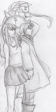 Finally started watching Fullmetal alchemist and it is AWESOME! so here is Winry and the Elric brothers! :D    More of my art -  tumblr and deviantart