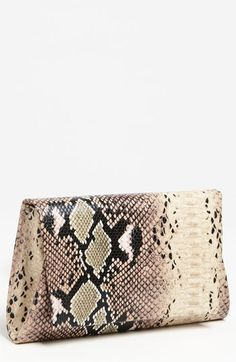 Natasha Couture Foldover Snake Embossed Clutch | Nordstrom