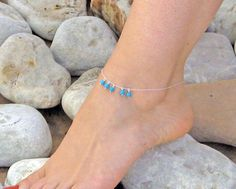 Turquoise Anklet, Dangle Ankle Bracelet, 14k Gold Fill or 925 Sterling Silver, Dangle Stone Anklet, Beach Foot Jewelry, Bridesmaid Jewelry