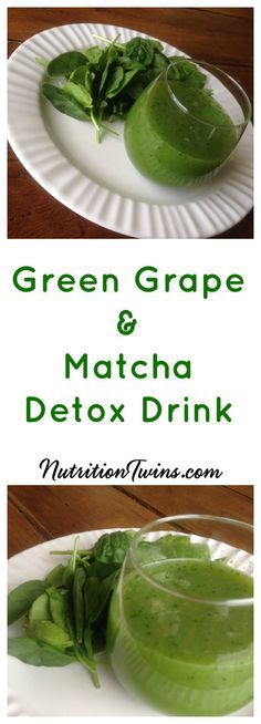 Green Grape & Matcha Detox Drink | Only 35 Calories| Great way to Flush Bloat & Get Mind & Body Back on Healthy Track | Nutrients help liver in detoxification of toxins |For RECIPES, fitness & nutrition tips please SIGN UP for our FREE NEWSLETTER www.NutritionTwins.com