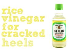 DIY Beauty: fix your cracked heels with rice vinegar Mix a scrub by adding  1tablespoon of honey 1tablespoon salt  1tablespoon of rice vinegar.   a few drops of olive oil  Make into a watery paste and use it to scrub the cracked heels and hard skin on your heels.