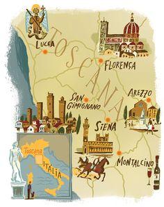 Nik Neves - Map of Tuscany for Angeloni Magazine