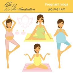This Pregnant yoga clipart set comes with 7 cliparts featuring 4 moms to be practicing yoga, candles, lotus flower and a carpet.