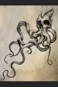 nice tentacles, look like roots coming out of skull. draw from inspiration.