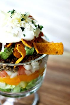 Layered Chopped Taco Salad from foodiewithfamily.com Great for repurposing leftovers and a wonderful, customizable recipe for entertaining