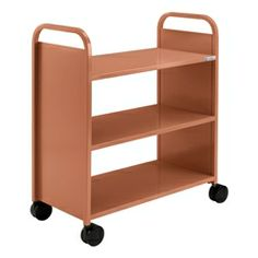 Flat Shelf Book Truck - Three Shelves - Shown in clementine