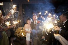 "A Rustic Barn Wedding - sparklers & bride in ""dancing dress"""
