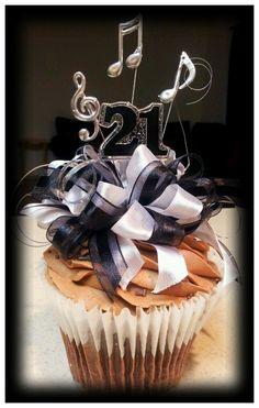 Vee Vee's 21st B-day Jumbo Music Themed Cupcake