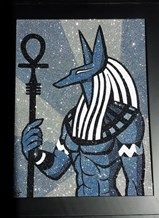 Egyptian god Anubis Egyptian Mythology, Glitter Art, Anubis, Bat Signal, Superhero Logos, God, Painting, Dios, Painting Art