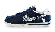 hot sale online 14087 6054c Bandana Fever Bandana NY Yankees Print Custom Navy White Nike Cortez Shoes