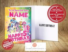 My Little Pony ~ Personalised Birthday Card FREE 1ST CLASS DELIVERY