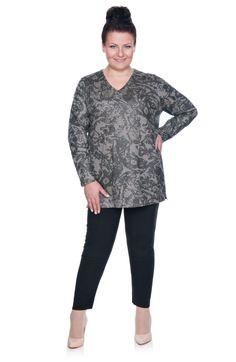 Szara bluzka w ozdobny wzór - Modne Duże Rozmiary
