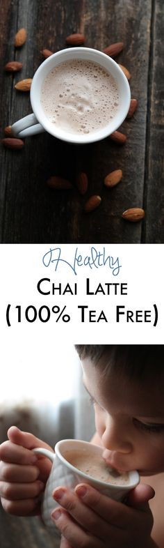 This healthy chai latte is easy to make 100% raw and is a great caffeine free alternative to the sugar filled tea lattes! My kiddos love it too! http://abite.co/h-chai