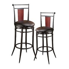 Stools with great classic looks have faux leather padded seats, wood panel backs and flared legs. An impressive addition to any counter or bar, stools feature a 360 degree swivel seat.