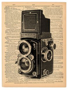 Rolleiflex Camera book page print. Father's Day by BookwormSalon