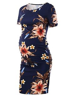 3bc8ad4e7322a Liu  amp  Qu Women s Ruched Maternity Bodycon Dress Mama Causual Short  Sleeve Wrap Dresses Floral
