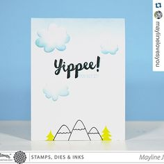 Mayline used the flower dies from #ABunchDie as clouds on her card here! Isn't it clever?! #CongratsStampSet (sentiment), #RiversideStampSet (mountains, trees) #WaffleFlowerCrafts