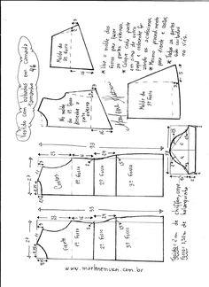 Esquema de modelagem de vestido em camadas tamanho 46.