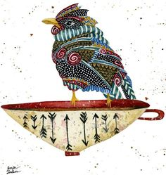 Bird illustration art by Jennifer Lambein via www.Facebook.com/JenniferLambeinStudioPetite