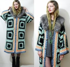 ☩ GRANNY SQUARE CROCHET JACKET Handmade by Crux and Crow Made with a 1970s vintage crochet blanket Pastel mint green, orange, purple and black chunky crochet Fluffy grey faux fur collar Silver coat of arms buttons down the front Long relaxed slouchy fit with wide kimono style sleeves Free size One of a kind  Label: Crux and Crow Size on tag: - Best fit: Free Size Fabric: Acrylic, faux fur Condition: Good condition, light wear, handmade with vintage materials.  ☩ M E A S U R E M E N T S…