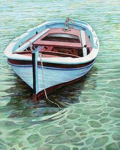 "Mykonos Boat, Acrylic on linen, 44""x36"" © Huff SOLD"