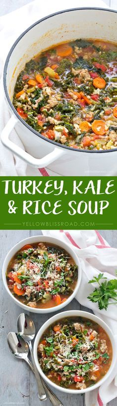 Ground Turkey, Kale and Rice Soup - Delicious and so good for you!