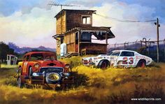 These two Chevies may have been winners in their day but they have definitely seen their last race. Dale Klee's print SHORT TRACK CHEVIES takes us back to the when dirt track stock car racing be Us Cars, Race Cars, Car Prints, E Motor, Vintage Racing, Vintage Vespa, Automotive Art, Cartoon Art, Cool Cars