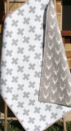 Minimalist Quilt, Modern Cross Design, Antlers Deer Head Plus Sign Buck Blanket Grey Gray White Ivory Crib Bedding Nursery Blanket Geometric by SunnysideDesigns2
