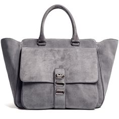 Tila March Manon Suede Winged Tote Bag (€345) ❤ liked on Polyvore featuring bags, handbags, tote bags, purses, bolsas, accessories, gray tote bag, grey suede handbag, suede tote bag and pocket tote