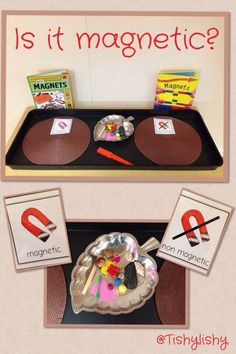 (Pin N) Magnetic sorting investigation- children can explore ideas engaging with and co-constructing meaning through play- based learning. Children resource their own learning through connecting with material and exploring ideas and theories through play. Science Area, Primary Science, Kindergarten Science, Science For Kids, Science Table, Science Center Preschool, Montessori Preschool, Eyfs Activities, Science Activities