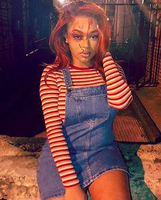 Black Women in Costume — Chucky and Tiffany Costumes Black Girl Halloween Costume, Chucky Halloween, Cute Halloween Makeup, Diy Halloween Costumes For Women, Trendy Halloween, Halloween Outfits, Diy Chucky Costume, Chucky And Tiffany Costume, Make Up