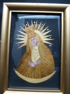 VINTAGE CZECHOSLOVAKIAN  ICON....VIRGIN MARY...COLLAGE IN WOOD