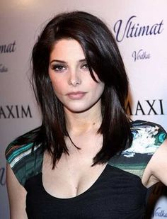 Ashley Greene Dark Medium Hair for Round Faces