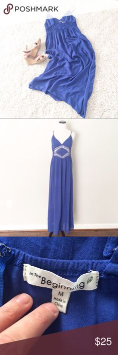 """Blue lightweight Maxi Dress Blue maxi dress with adjustable straps. Zipper on back. Cups are lined. Below cups is crocheted. 100% rayon. Lining is polyester. Length 52"""". in the beginning  Dresses Maxi"""